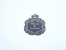Etiqueta Luxo Coroa Difusor de Ambiente Preta com Dourada