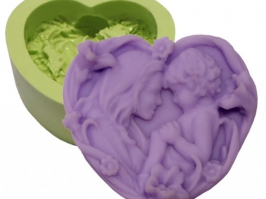 Molde de Silicone Coração Flores Mãe e Filho