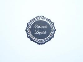 Etiqueta Luxo Sabonete Liquido Preta com Prata