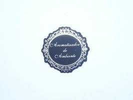 Etiqueta Luxo Aromatizador de Ambiente Preta com Prata