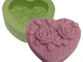 Molde de Silicone Coração Médio com Rosas