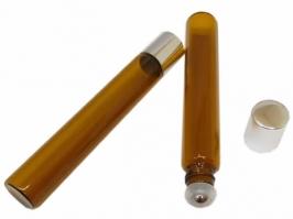 Vidro Rollon Âmbar 10 ml c/tampa prata(Unidade)