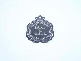 Etiqueta Luxo Coroa Difusor de Ambiente Preta com Prata