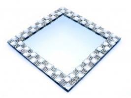 Bandeja de Vidro Espelhada Quadrada Grande Prata (21x21)
