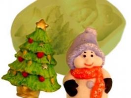 Molde de Silicone Boneco de Neve/Árvore