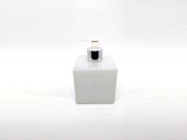 Vidro Saboneteira Cubo Branco 350 ml