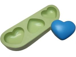 Molde de Silicone Coração Mini 3 cav.