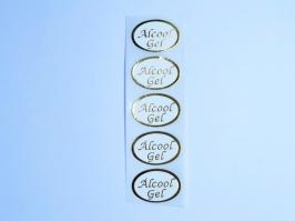Etiqueta Álcool Gel Dourada 30 Unidades