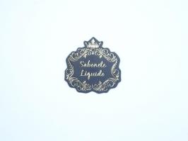 Etiqueta Luxo Coroa Sabonete Liquido Preta com Dourada
