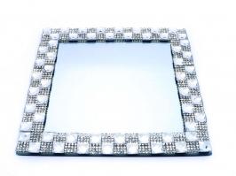 Bandeja de Vidro Espelhada Quadrada Pequena Prata (16x16)